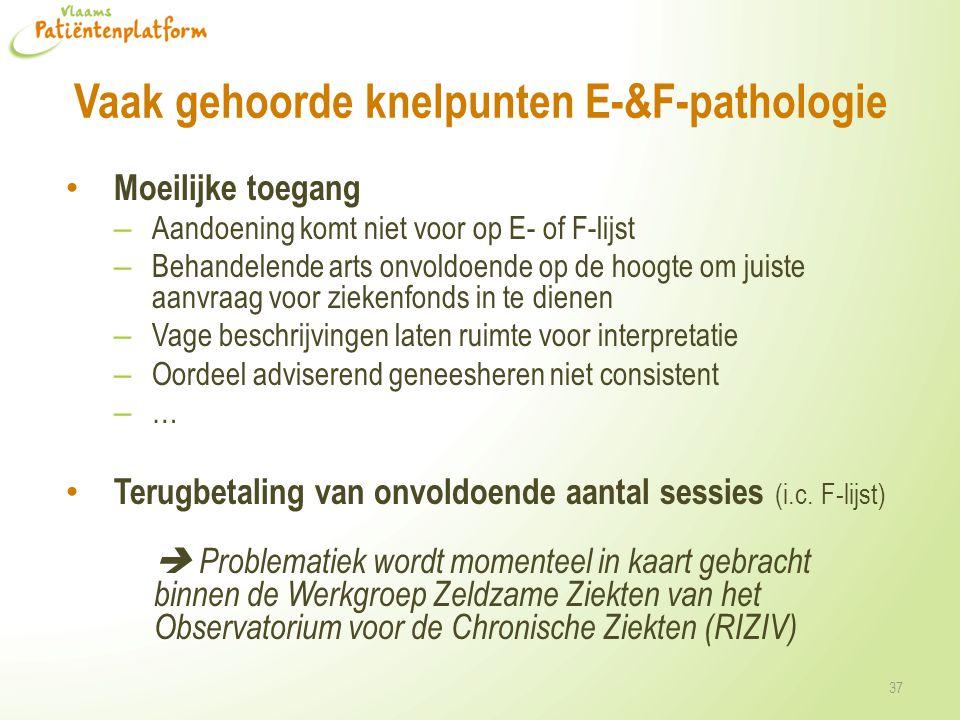 Vaak gehoorde knelpunten E-&F-pathologie Moeilijke toegang – Aandoening komt niet voor op E- of F-lijst – Behandelende arts onvoldoende op de hoogte o