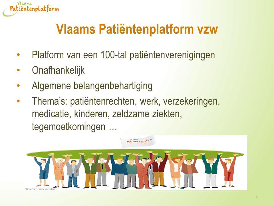 Vlaams Patiëntenplatform vzw 4 Platform van een 100-tal patiëntenverenigingen Onafhankelijk Algemene belangenbehartiging Thema's: patiëntenrechten, we