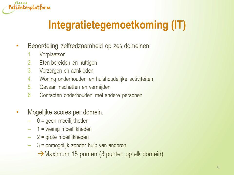 Integratietegemoetkoming (IT) Beoordeling zelfredzaamheid op zes domeinen: 1.Verplaatsen 2.Eten bereiden en nuttigen 3.Verzorgen en aankleden 4.Woning