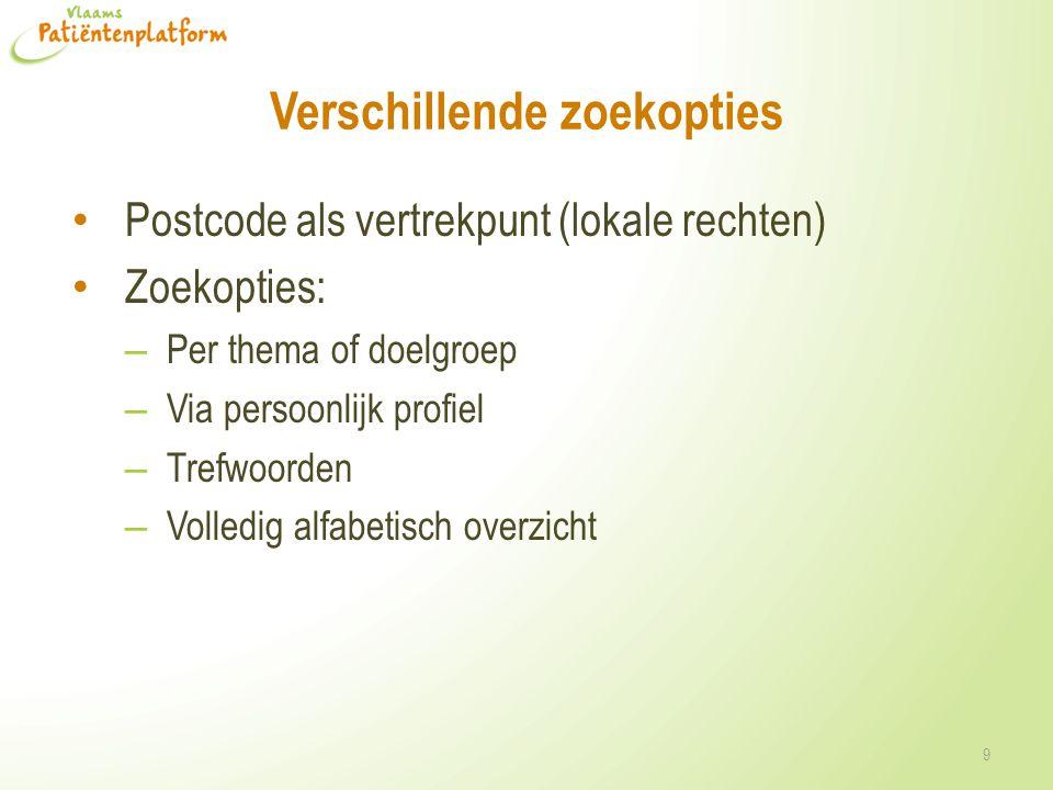 Verschillende zoekopties Postcode als vertrekpunt (lokale rechten) Zoekopties: – Per thema of doelgroep – Via persoonlijk profiel – Trefwoorden – Voll