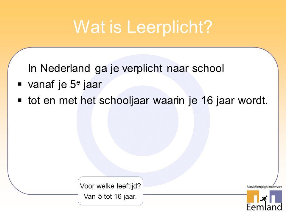 Wat is Leerplicht? In Nederland ga je verplicht naar school  vanaf je 5 e jaar  tot en met het schooljaar waarin je 16 jaar wordt. Voor welke leefti