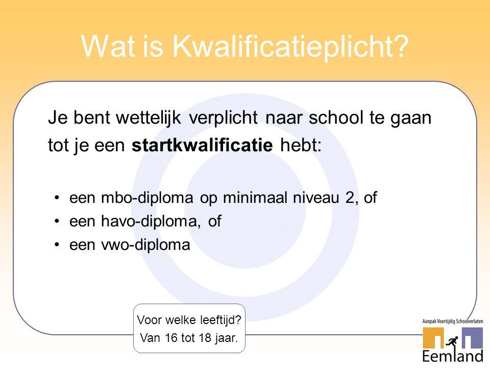 Wat is Kwalificatieplicht? Je bent wettelijk verplicht naar school te gaan tot je een startkwalificatie hebt: een mbo-diploma op minimaal niveau 2, of