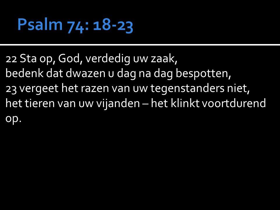 22 Sta op, God, verdedig uw zaak, bedenk dat dwazen u dag na dag bespotten, 23 vergeet het razen van uw tegenstanders niet, het tieren van uw vijanden – het klinkt voortdurend op.