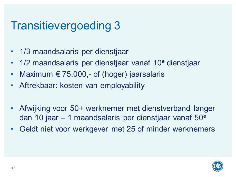 1/3 maandsalaris per dienstjaar 1/2 maandsalaris per dienstjaar vanaf 10 e dienstjaar Maximum € 75.000,- of (hoger) jaarsalaris Aftrekbaar: kosten van