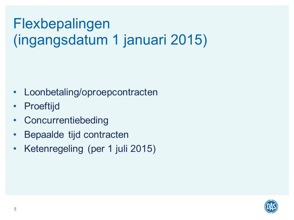 Loonbetaling/oproepcontracten Proeftijd Concurrentiebeding Bepaalde tijd contracten Ketenregeling (per 1 juli 2015) 5 Flexbepalingen (ingangsdatum 1 j