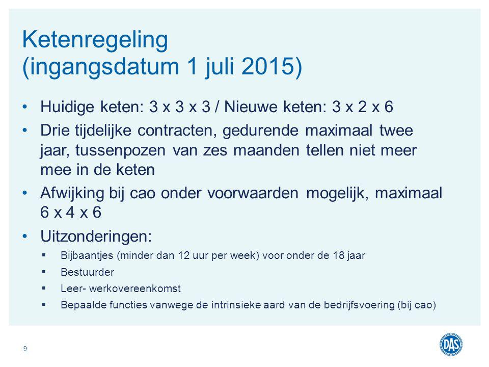Huidige keten: 3 x 3 x 3 / Nieuwe keten: 3 x 2 x 6 Drie tijdelijke contracten, gedurende maximaal twee jaar, tussenpozen van zes maanden tellen niet m