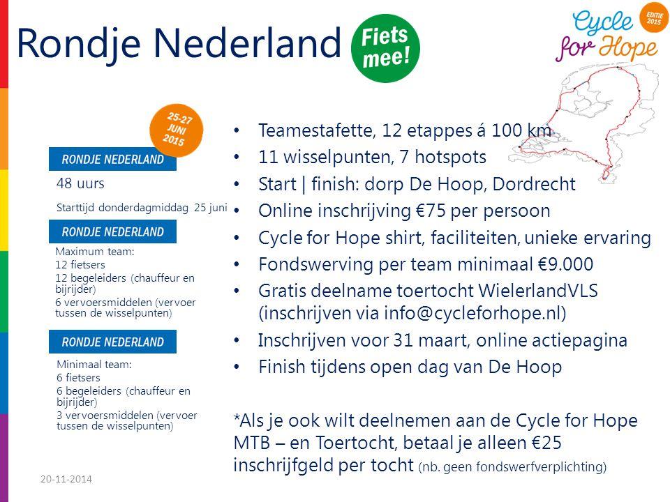 Rondje Nederland Teamestafette, 12 etappes á 100 km 11 wisselpunten, 7 hotspots Start | finish: dorp De Hoop, Dordrecht Online inschrijving €75 per persoon Cycle for Hope shirt, faciliteiten, unieke ervaring Fondswerving per team minimaal €9.000 Gratis deelname toertocht WielerlandVLS (inschrijven via info@cycleforhope.nl) Inschrijven voor 31 maart, online actiepagina Finish tijdens open dag van De Hoop *Als je ook wilt deelnemen aan de Cycle for Hope MTB – en Toertocht, betaal je alleen €25 inschrijfgeld per tocht (nb.