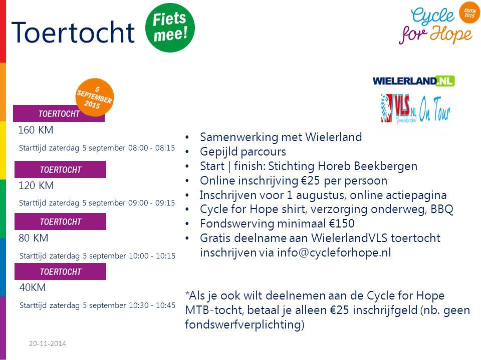 Toertocht Samenwerking met Wielerland Gepijld parcours Start | finish: Stichting Horeb Beekbergen Online inschrijving €25 per persoon Inschrijven voor 1 augustus, online actiepagina Cycle for Hope shirt, verzorging onderweg, BBQ Fondswerving minimaal €150 Gratis deelname aan WielerlandVLS toertocht inschrijven via info@cycleforhope.nl *Als je ook wilt deelnemen aan de Cycle for Hope MTB-tocht, betaal je alleen €25 inschrijfgeld (nb.