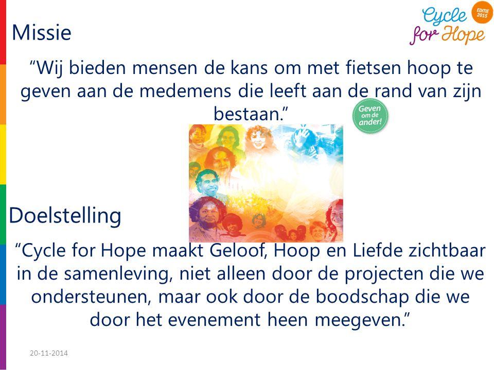 Missie Wij bieden mensen de kans om met fietsen hoop te geven aan de medemens die leeft aan de rand van zijn bestaan. Cycle for Hope maakt Geloof, Hoop en Liefde zichtbaar in de samenleving, niet alleen door de projecten die we ondersteunen, maar ook door de boodschap die we door het evenement heen meegeven. Doelstelling 20-11-2014