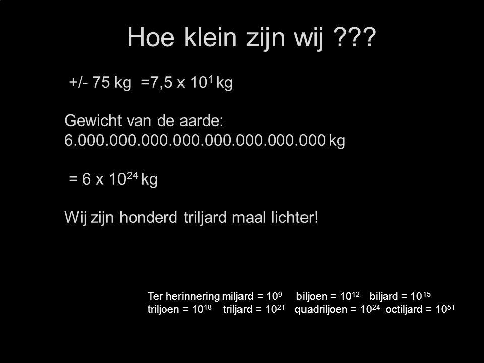 Hoe klein zijn wij ??? +/- 75 kg =7,5 x 10 1 kg Gewicht van de aarde: 6.000.000.000.000.000.000.000.000 kg = 6 x 10 24 kg Wij zijn honderd triljard ma