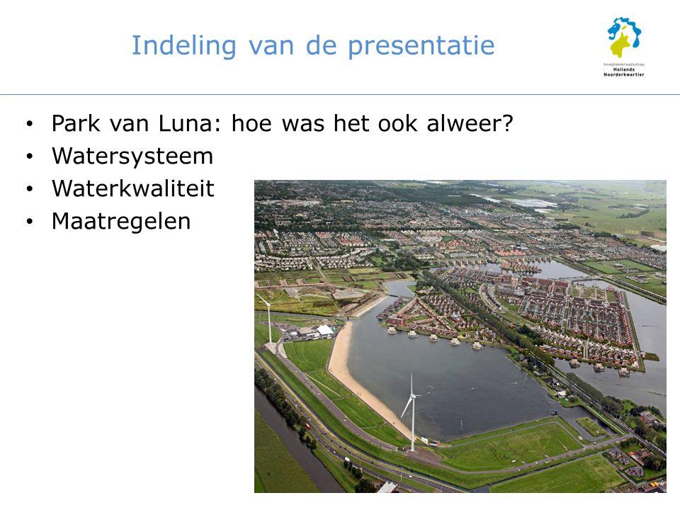 Indeling van de presentatie Park van Luna: hoe was het ook alweer? Watersysteem Waterkwaliteit Maatregelen