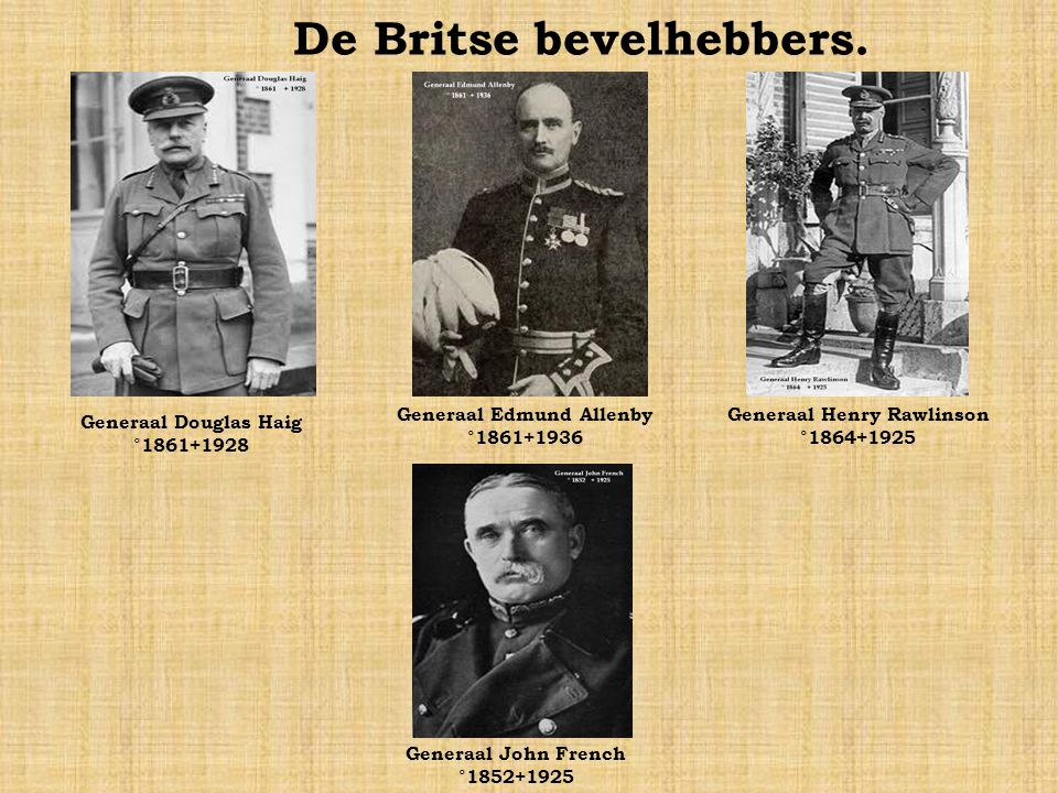 De Franse bevelhebbers. Generaal Ferdinand Foch °1851 +1929 Generaal Antoine de Mitry °1857 +1924 Generaal Victor d´Urbal °1858 +1943