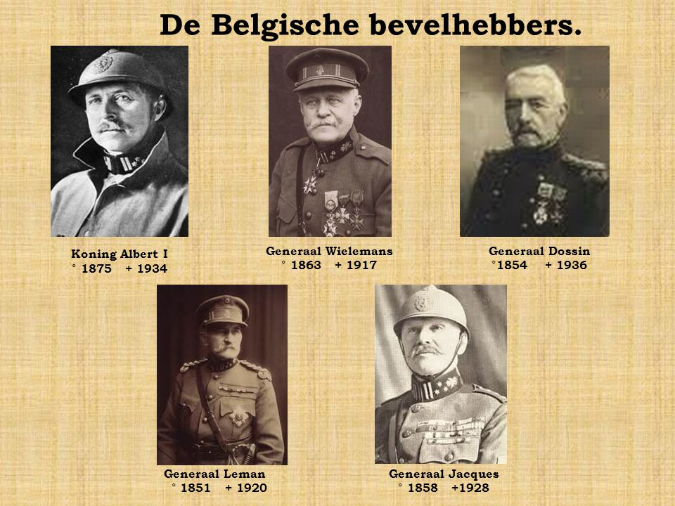 De Britse bevelhebbers. Generaal Douglas Haig °1861+1928 Generaal Edmund Allenby °1861+1936 Generaal Henry Rawlinson °1864+1925 Generaal John French °