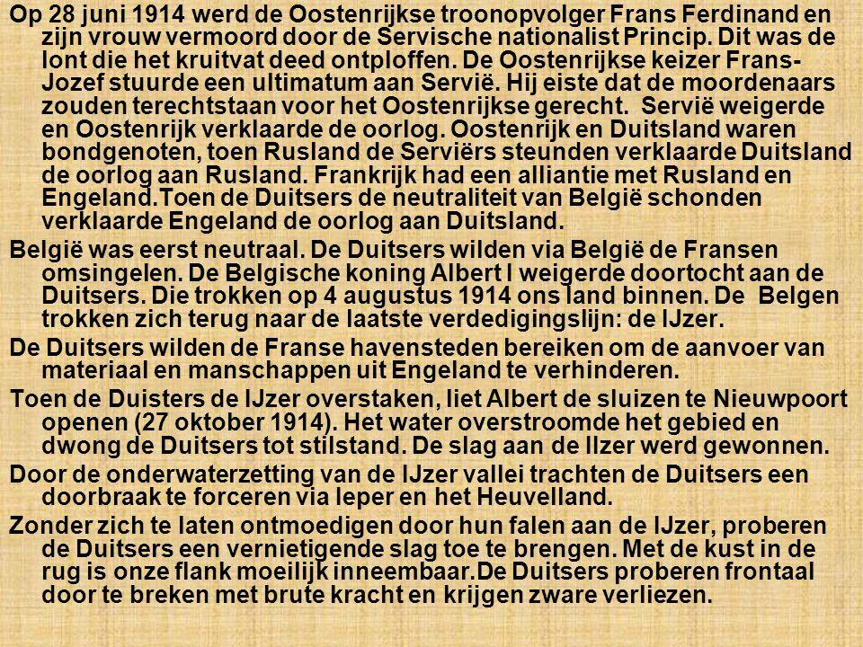De Belgische bevelhebbers. Koning Albert I ° 1875 + 1934 Generaal Wielemans ° 1863 + 1917 Generaal Dossin °1854 + 1936 Generaal Leman ° 1851 + 1920 Ge