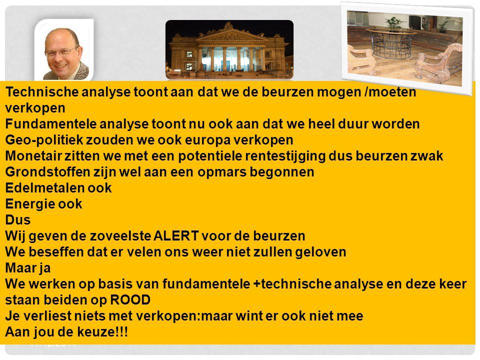 11/12/2014 2 Technische analyse toont aan dat we de beurzen mogen /moeten verkopen Fundamentele analyse toont nu ook aan dat we heel duur worden Geo-p