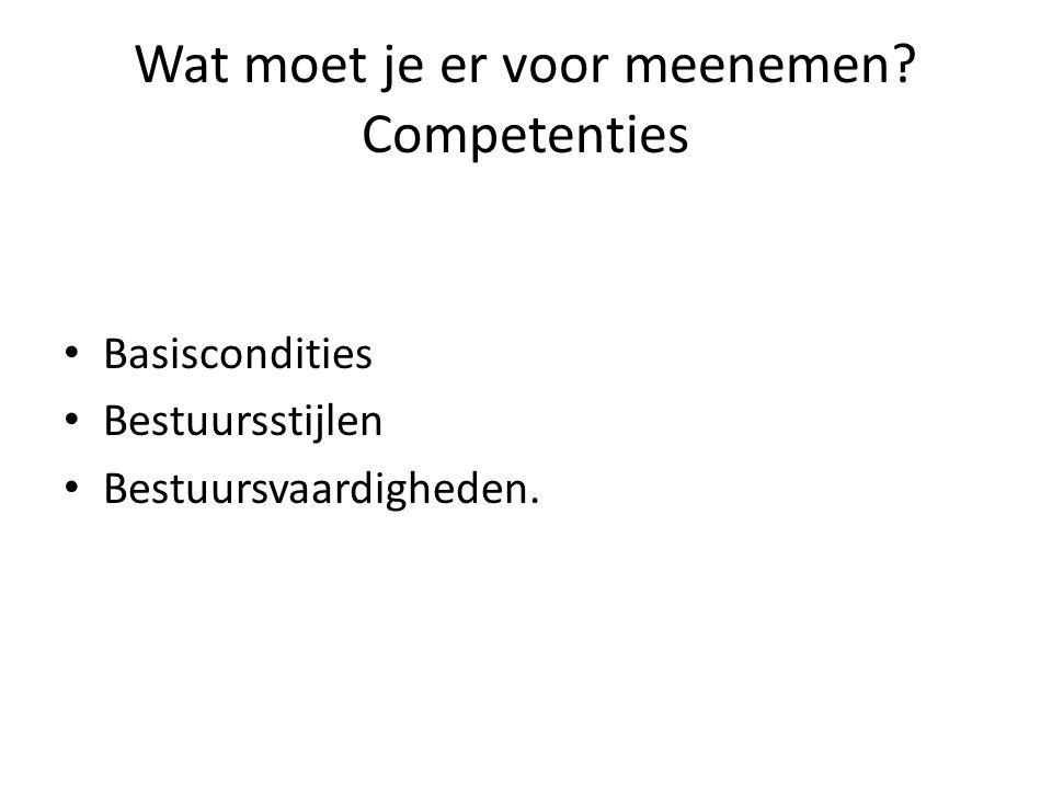 Wat moet je er voor meenemen? Competenties Basiscondities Bestuursstijlen Bestuursvaardigheden.