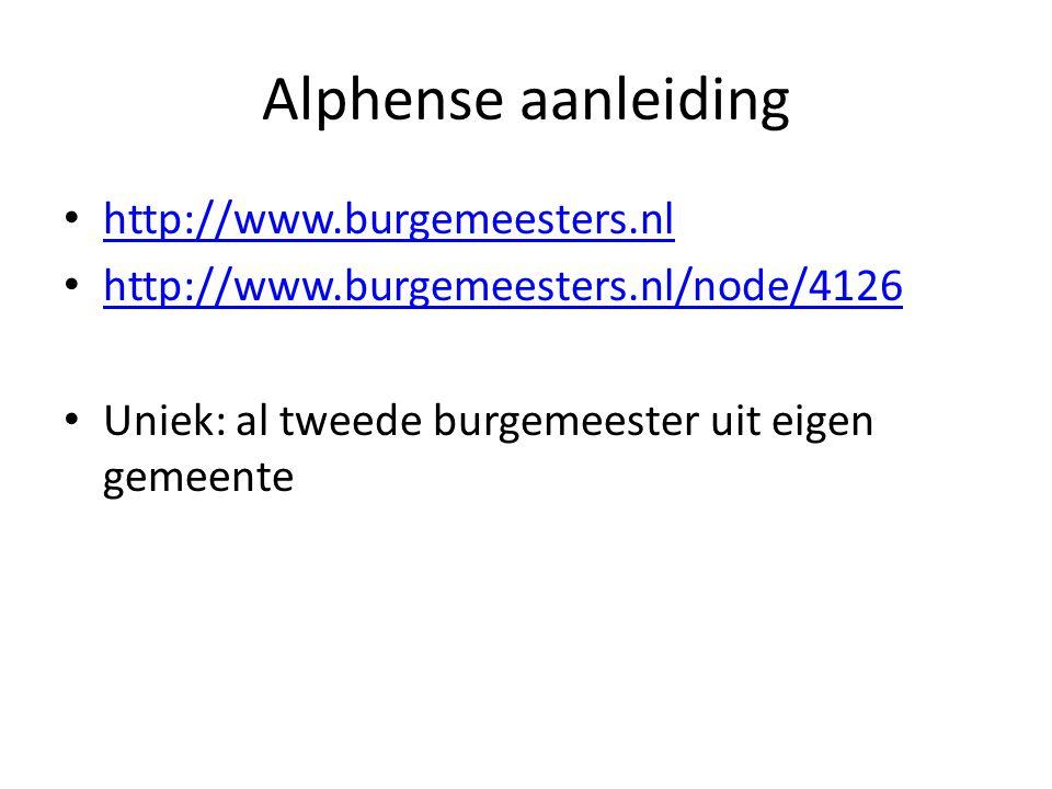Alphense aanleiding http://www.burgemeesters.nl http://www.burgemeesters.nl/node/4126 Uniek: al tweede burgemeester uit eigen gemeente