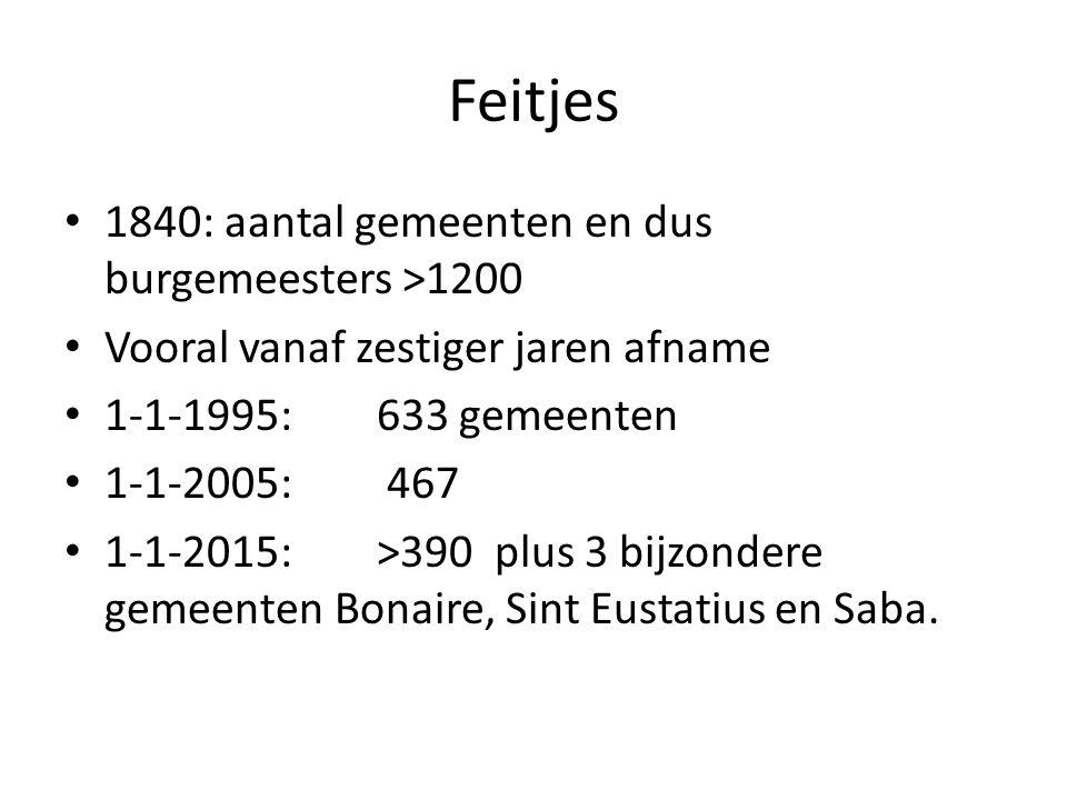 Feitjes 1840: aantal gemeenten en dus burgemeesters >1200 Vooral vanaf zestiger jaren afname 1-1-1995: 633 gemeenten 1-1-2005: 467 1-1-2015: >390 plus 3 bijzondere gemeenten Bonaire, Sint Eustatius en Saba.