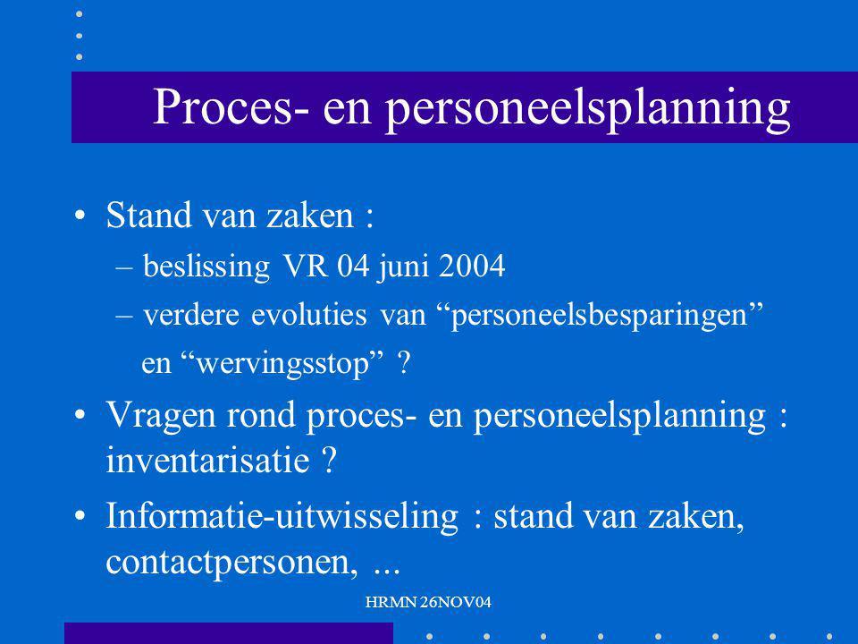 """HRMN 26NOV04 Proces- en personeelsplanning Stand van zaken : –beslissing VR 04 juni 2004 –verdere evoluties van """"personeelsbesparingen"""" en """"wervingsst"""