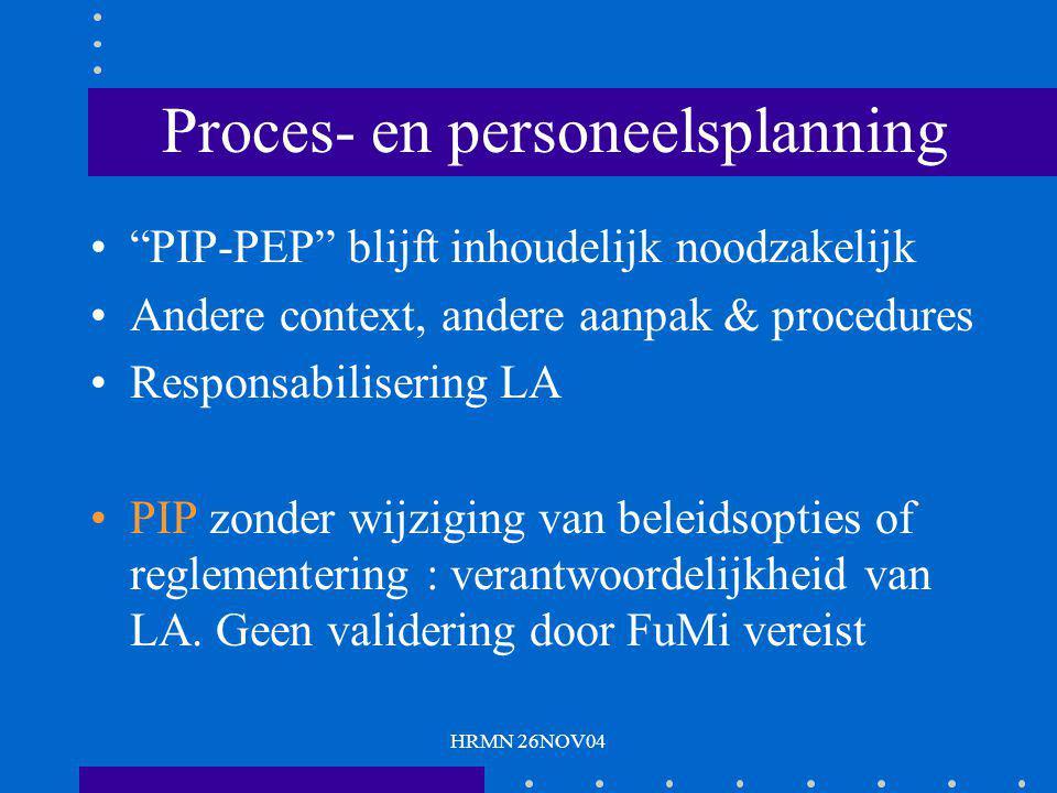 HRMN 26NOV04 Proces- en personeelsplanning PIP-PEP blijft inhoudelijk noodzakelijk Andere context, andere aanpak & procedures Responsabilisering LA PIP zonder wijziging van beleidsopties of reglementering : verantwoordelijkheid van LA.