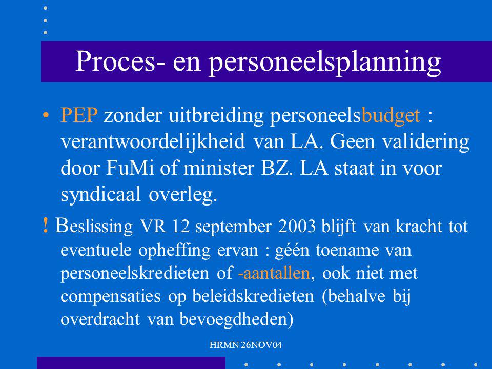 HRMN 26NOV04 Proces- en personeelsplanning PEP zonder uitbreiding personeelsbudget : verantwoordelijkheid van LA. Geen validering door FuMi of ministe