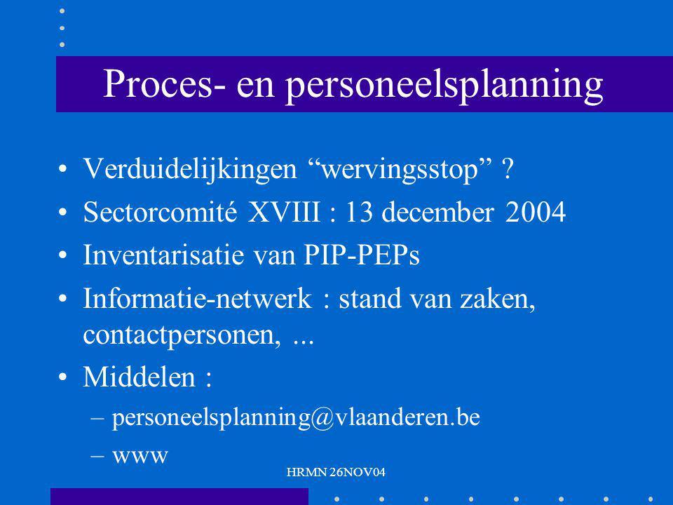 """HRMN 26NOV04 Proces- en personeelsplanning Verduidelijkingen """"wervingsstop"""" ? Sectorcomité XVIII : 13 december 2004 Inventarisatie van PIP-PEPs Inform"""