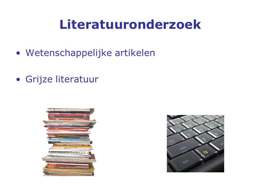 Wetenschappelijke artikelen Grijze literatuur Literatuuronderzoek