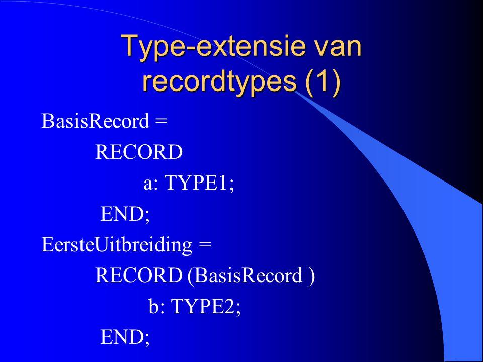 Type-extensie l Type-extensie van recordtypes l Type-extensie van pointertypes l Voorbeelden l Overriding l Voorbeeld l Het symbool ^