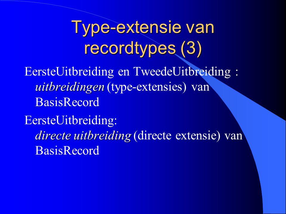 Type-extensie van recordtypes (2) TweedeUitbreiding = RECORD (EersteUitbreiding) c: TYPE3; END;