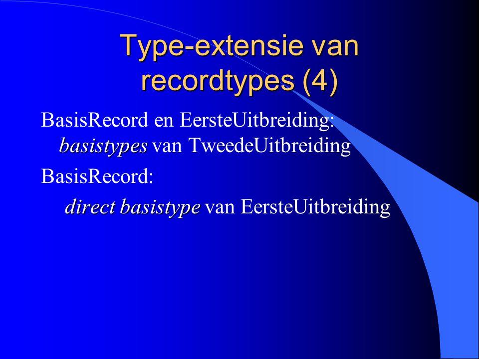 Type-extensie van recordtypes (3) uitbreidingen EersteUitbreiding en TweedeUitbreiding : uitbreidingen (type-extensies) van BasisRecord directe uitbreiding EersteUitbreiding: directe uitbreiding (directe extensie) van BasisRecord