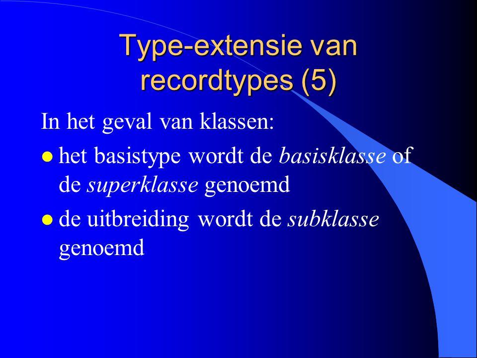 Type-extensie van recordtypes (4) basistypes BasisRecord en EersteUitbreiding: basistypes van TweedeUitbreiding BasisRecord: direct basistype direct basistype van EersteUitbreiding