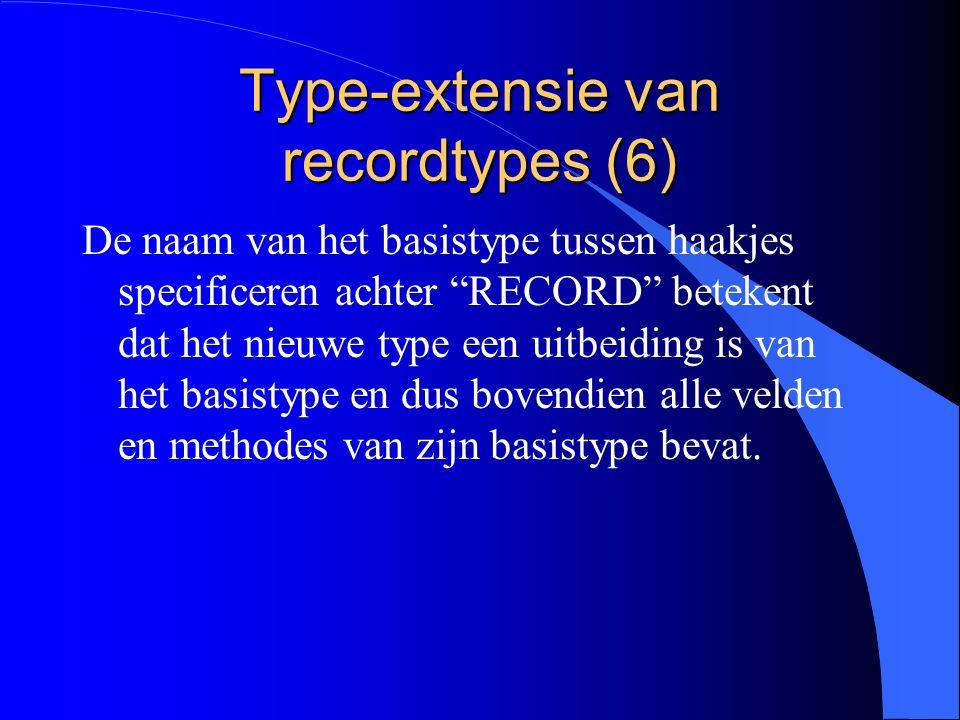 Type-extensie van recordtypes (5) In het geval van klassen: l het basistype wordt de basisklasse of de superklasse genoemd l de uitbreiding wordt de subklasse genoemd