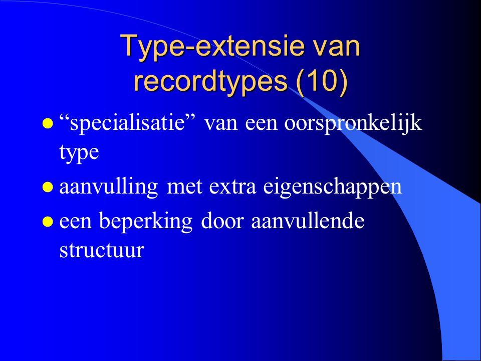 Type-extensie van recordtypes (9) Referentie naar de velden VAR b1, b2: BasisType; e1, e2: EersteUitbreiding; t1, t2: TweedeUitbreiding; … t2.a t2.b t2.c