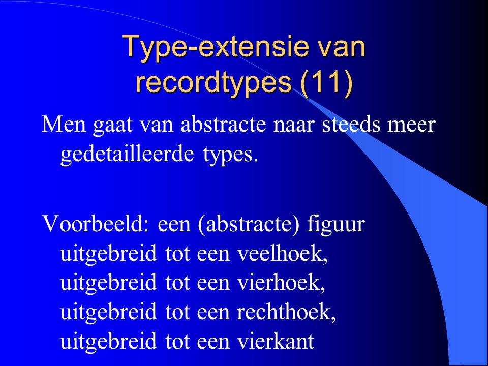 Type-extensie van recordtypes (10) l specialisatie van een oorspronkelijk type l aanvulling met extra eigenschappen l een beperking door aanvullende structuur