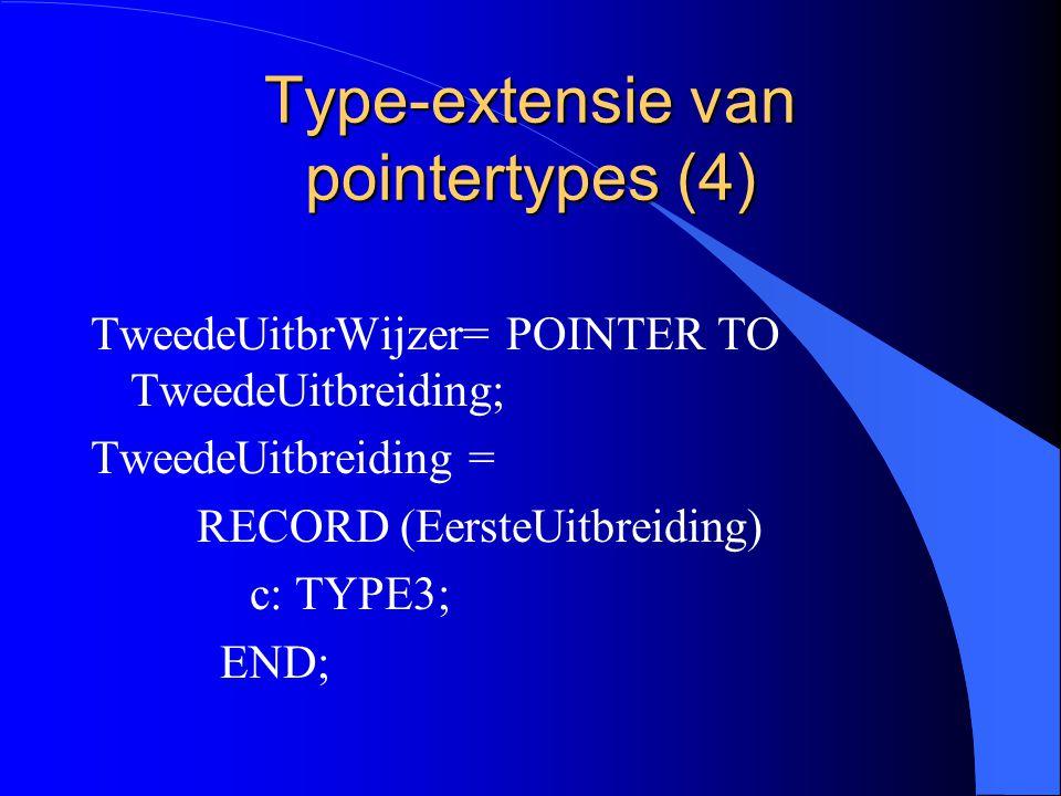 Type-extensie van pointertypes (3) l EersteUitbrWijzer is een uitbreiding (extensie) van BasisRecWijzer.