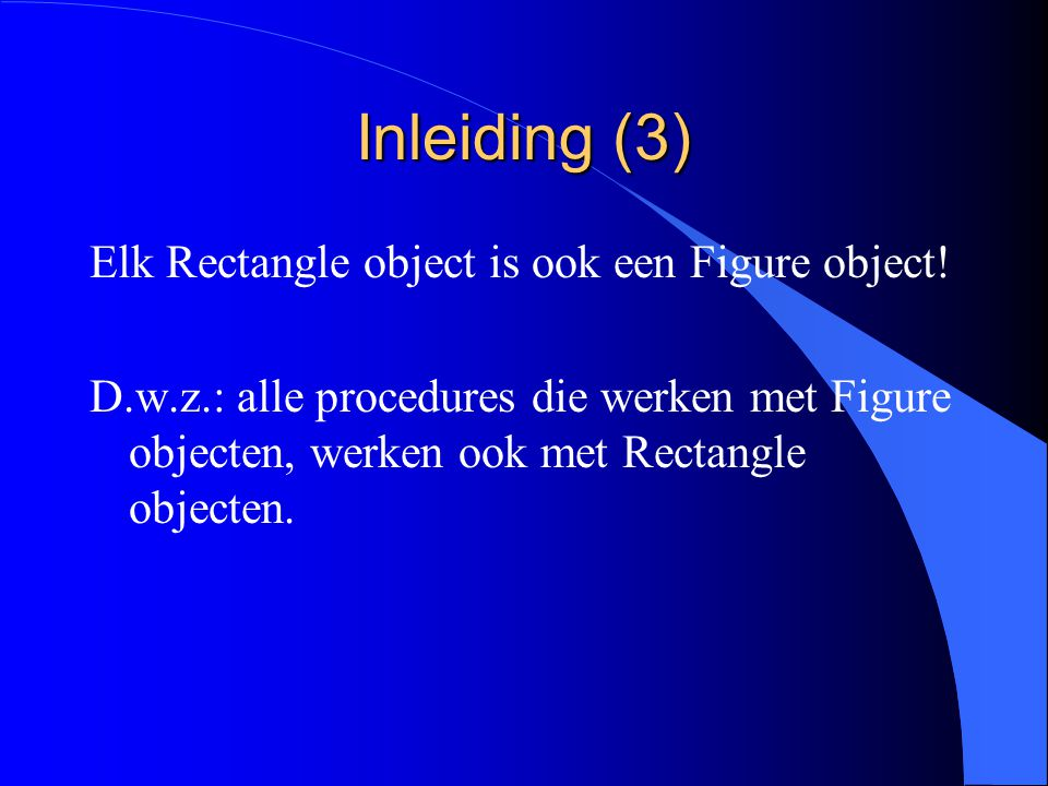 Inleiding (2) Verschil tussen Rectangle en NewRectangle: l Rectangle is compatibel met Figure omdat Rectangle een uitbreiding is van Figure.