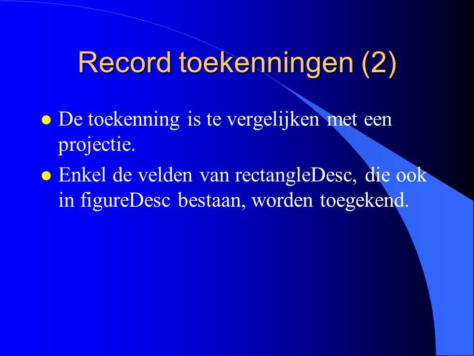 Record toekenningen (1) De compatibiliteit tussen een basistype en zijn uitbreiding wordt gebruikt in toekenningen.