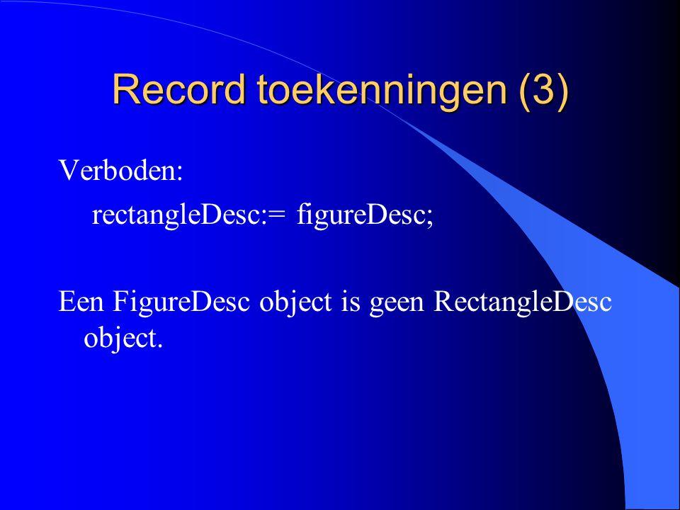 Record toekenningen (2) l De toekenning is te vergelijken met een projectie.