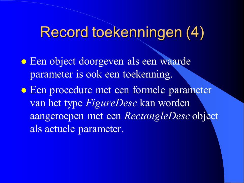 Record toekenningen (3) Verboden: rectangleDesc:= figureDesc; Een FigureDesc object is geen RectangleDesc object.