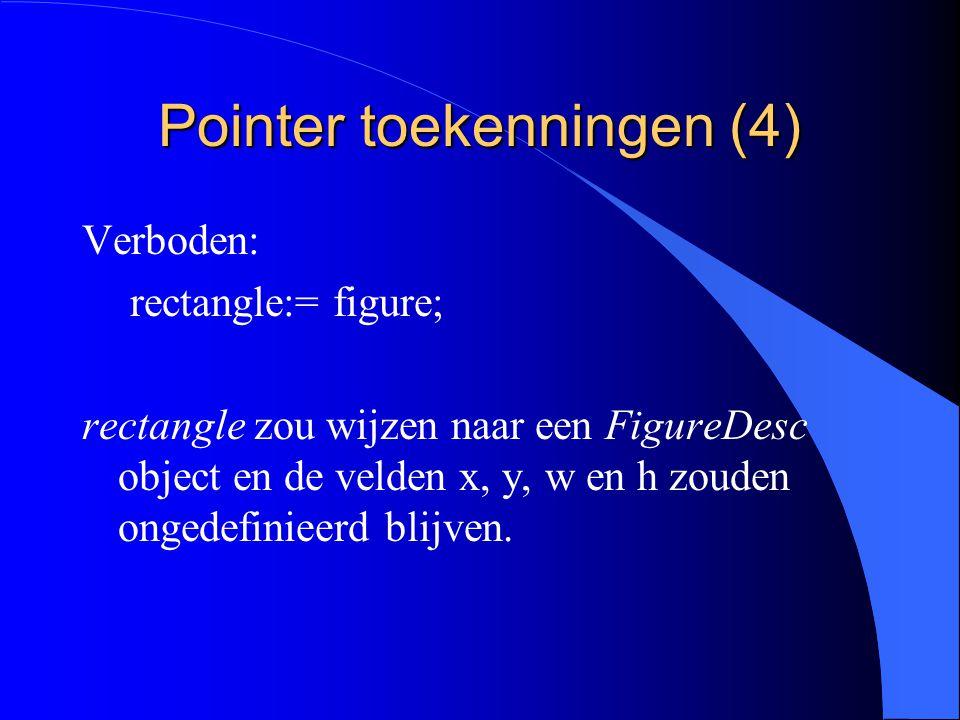 Pointer toekenningen (3) l De velden x, y, w, h bevinden zich ook in het object, waarnaar figure wijst.