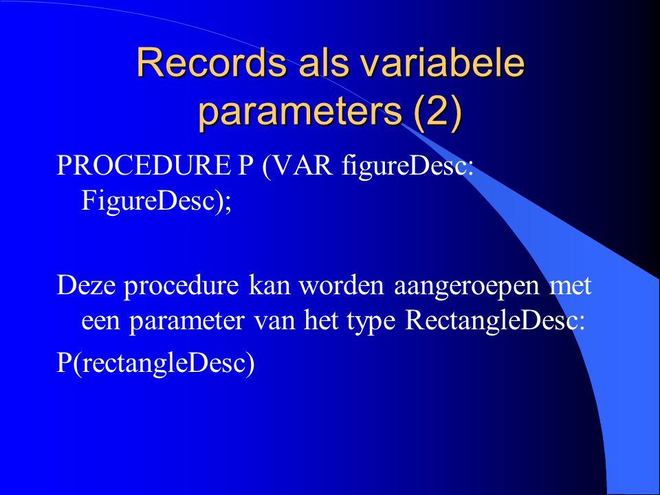 Records als variabele parameters (1) l Nog een situatie waarin een extensie compatibel is met zijn basistype: doorgave van een record als een VAR parameter.