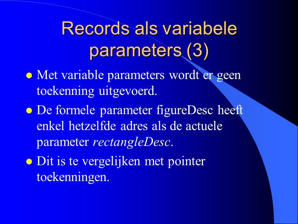 Records als variabele parameters (2) PROCEDURE P (VAR figureDesc: FigureDesc); Deze procedure kan worden aangeroepen met een parameter van het type RectangleDesc: P(rectangleDesc)