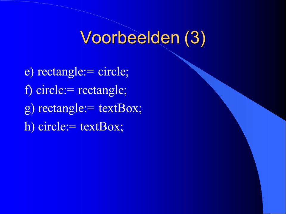 Voorbeelden (2) a) figure:= rectangle; b) rectangle:= figure; c) figure:= circle; d) figure:= textBox;
