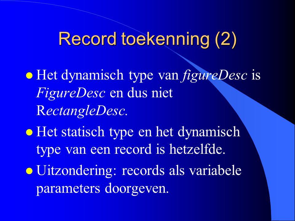 Record toekenning (1) figureDesc:= rectangleDesc; l Enkel de gemeenschappelijke velden worden toegekend.