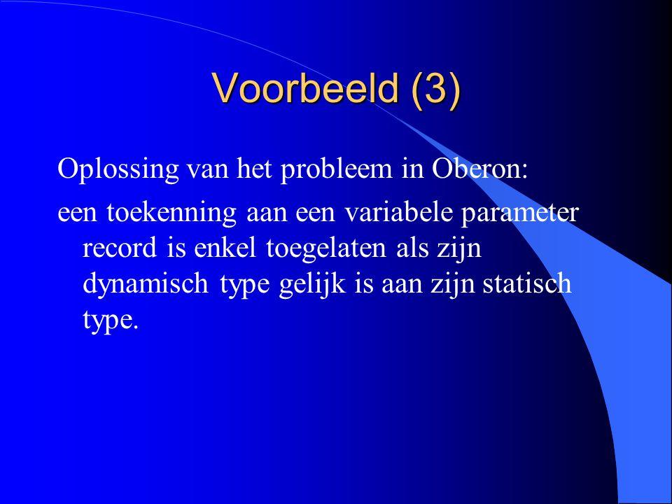 Voorbeeld (2) l Het statement f:=g levert geen probleem op.