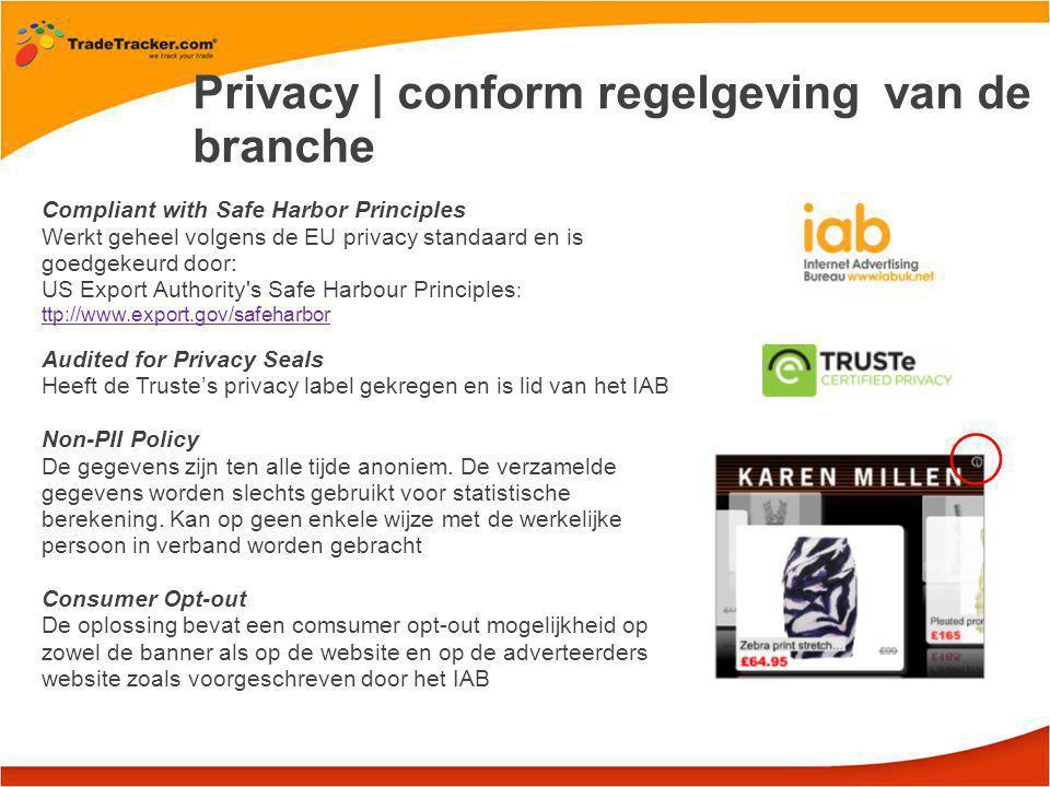 Privacy | conform regelgeving van de branche Compliant with Safe Harbor Principles Werkt geheel volgens de EU privacy standaard en is goedgekeurd door: US Export Authority s Safe Harbour Principles : ttp://www.export.gov/safeharbor ttp://www.export.gov/safeharbor Audited for Privacy Seals Heeft de Truste's privacy label gekregen en is lid van het IAB Non-PII Policy De gegevens zijn ten alle tijde anoniem.
