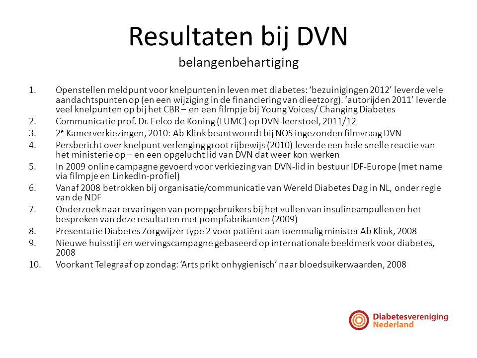 Resultaten bij DVN belangenbehartiging 1.Openstellen meldpunt voor knelpunten in leven met diabetes: 'bezuinigingen 2012' leverde vele aandachtspunten op (en een wijziging in de financiering van dieetzorg).