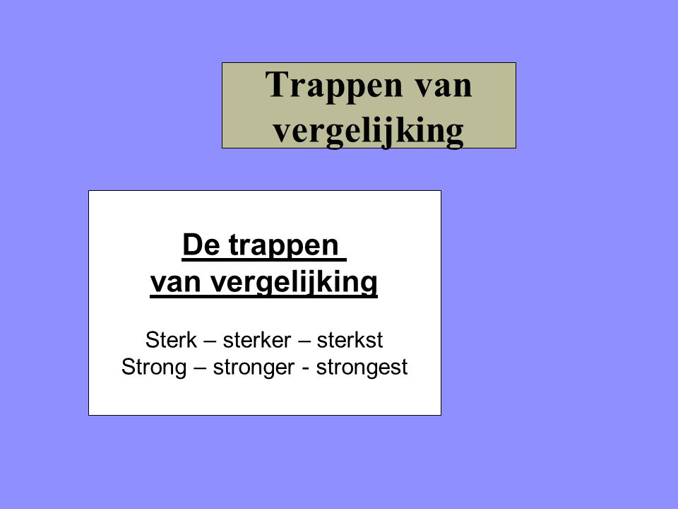 Trappen van vergelijking De trappen van vergelijking Sterk – sterker – sterkst Strong – stronger - strongest