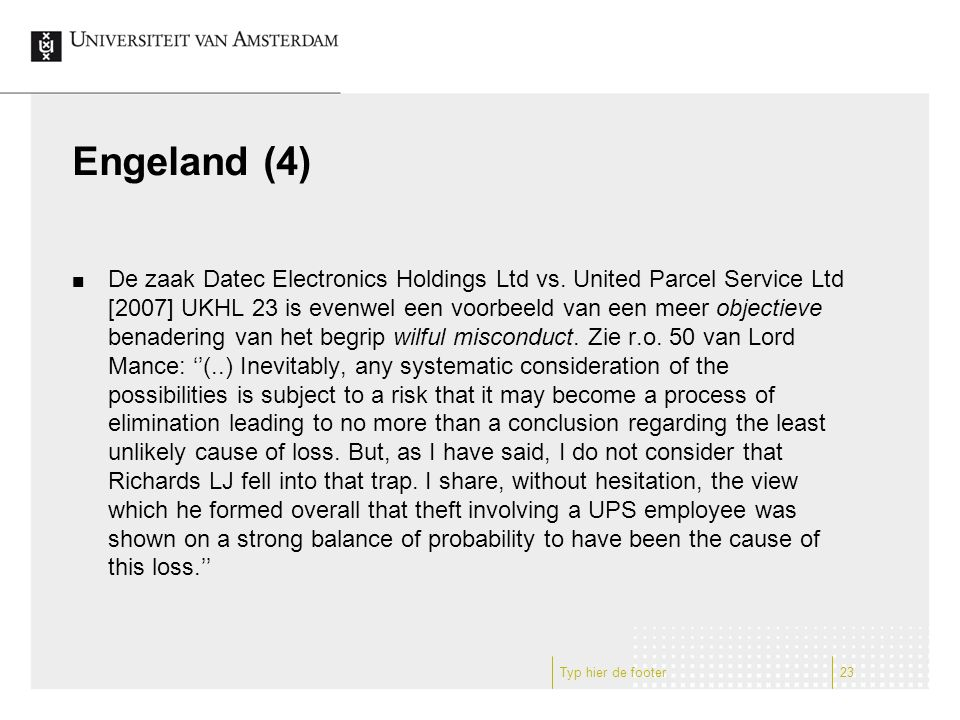 Engeland (4) De zaak Datec Electronics Holdings Ltd vs.
