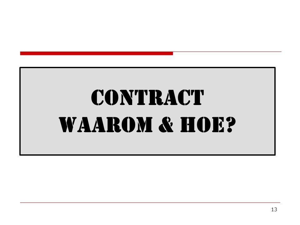 13 CONTRACT WAAROM & HOE?